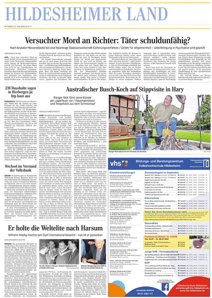 Ranger Nick in Germany - Hildesherimer Allgemeine Zeitung