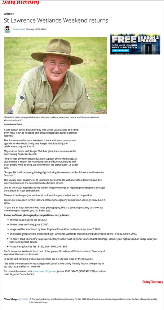 Ranger Nick headlines Wetlands Weekend