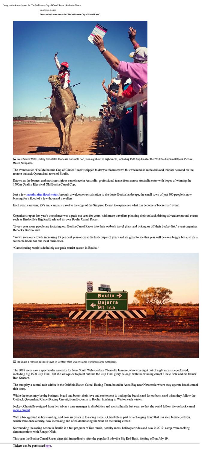 Dusty, outback town braces for The Melbourne Cup of Camel Races