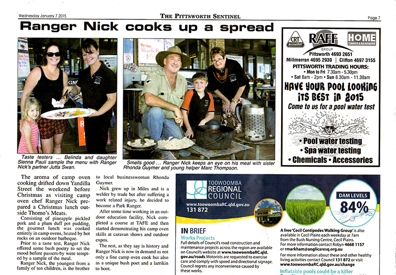 Ranger Nick in the Pittsworth Sentinel