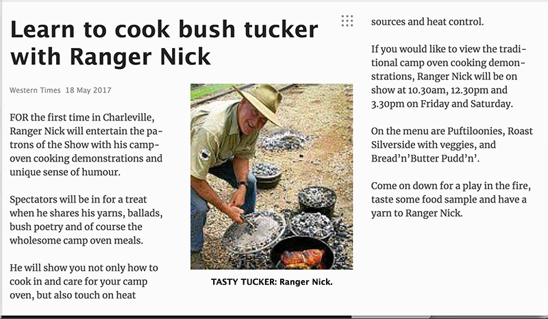 Learn to cook Bush Tucker with Ranger Nick - Western Times